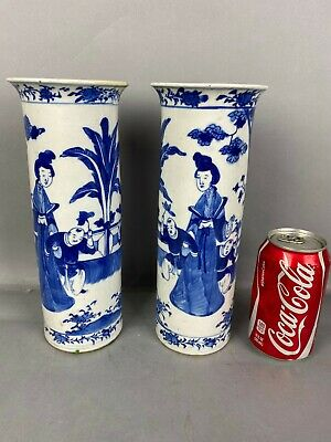 19th C. Pair Chinese Blue and White Porcelain Vases
