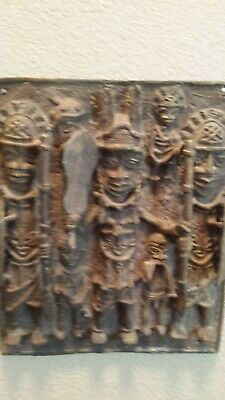 Old Bronze Benin King and the Guard sand cast bronze Wall Plaque