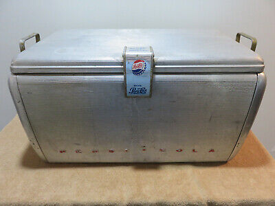 1960's Vintage Pepsi Cola Aluminum Airstream Picnic Cooler Silver Ice Chest