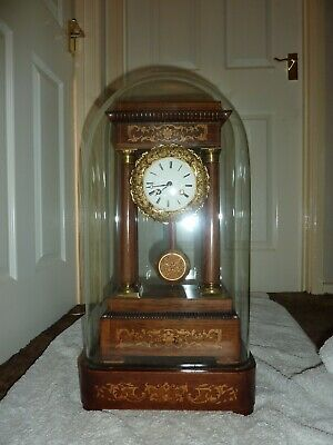 Late 19th Century French Rosewood Portico Clock with Original Dome