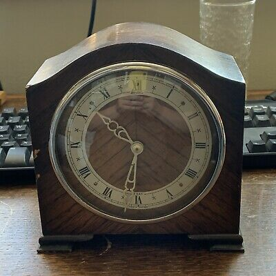 Vintage Bentima Wooden Cased mantle Clock Runs but Needs Attention