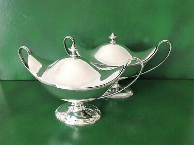 Large Heavy Pair Antique English Sterling Silver Sauce Tureens