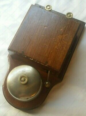 Large Original Vintage Electric Door Butler Shop Bell Mahogany With Brass Dome