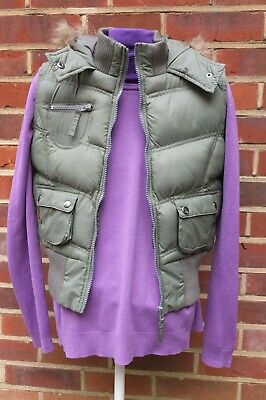 YD Girls 11/12 Yrs Body Warmer Gilet With Hood And Faux Fur Trim Khaki Green VGC