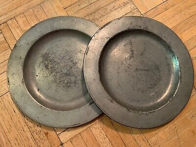 18th Century Pair Pewter Plates Flat Rim Fronts Marked H Little London 1734-64