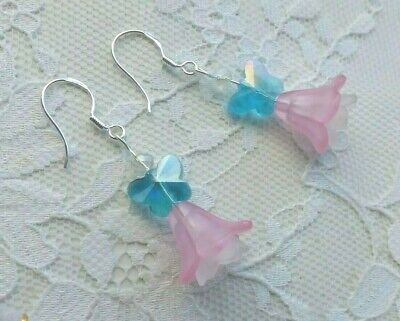 Handmade EARRINGS with Blue BUTTERFLIES and FLOWERS + beads Made in UK Free P&P
