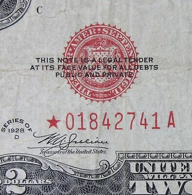 $2 1928D Star Mule red seal Legal Tender US Note NEW LOW *01842741A series D two