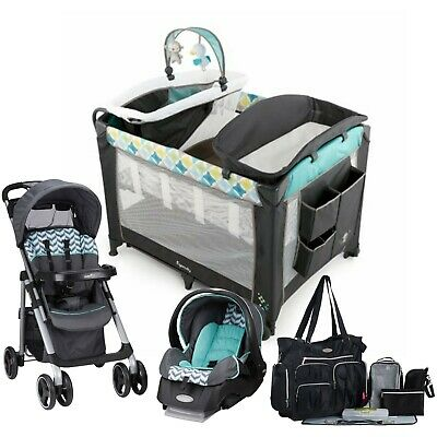Baby Stroller with Car Seat Travel System Diaper Bag Infant Toddler Playard Bed