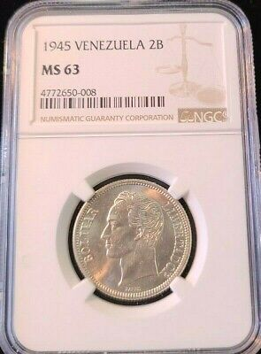 1945 Venezuela Silver 2 Bolivares 2B Ngc Ms 63 Bright Luster Beautiful Coin