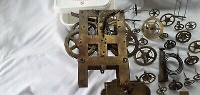 "Two Antique ""New Haven""  Clock Movements, Strike Coil & Many Other Cogs."