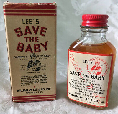 "Vintage 1939 Lee's ""Save The Baby"" Medicine Box, Bottle, and Instructions"