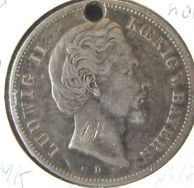 Germany five marks 1874-D, Fine (holed), very large silver coin (low mintage)