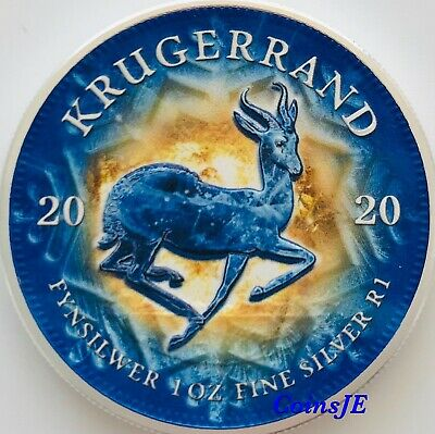 2020 1 oz .999 South African Krugerrand Lighting Ice Colorised Silver Coin