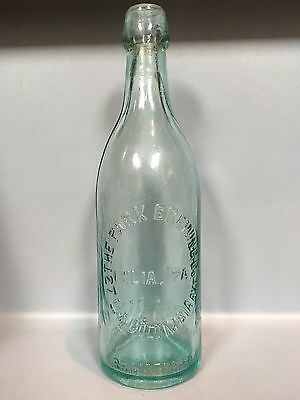 Rare Antique Embossed Clear Bluish Green Beer Bottle - Park Brewing Co Company