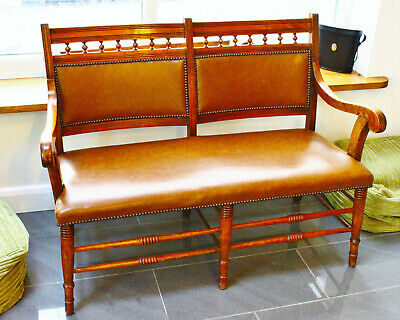 Antique Mahogany Wooden 2 Seater Sofa Settee antique leather bench country house