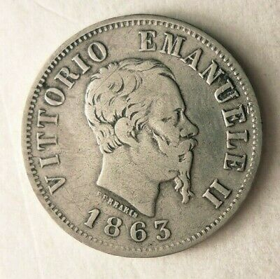 1863 ITALY 50 CENTESIMI - Excellent High Value Silver Coin - Lot #M24