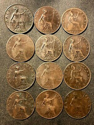 Old Great Britain Coin Lot - Victorian Half Pennies - 1862-1901 - 12 Coins - M24