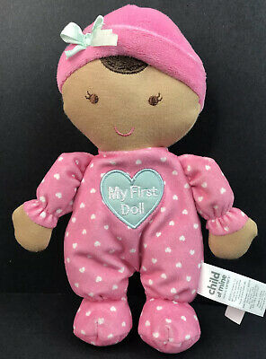 Brown Skin Carters Child Of Mine My First Doll Lovey Baby Rattle Crinkle P2