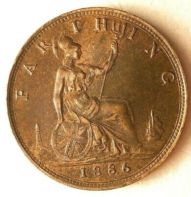1886 GREAT BRITAIN FARTHING - AU with RED - Great Coin - Lot #M24