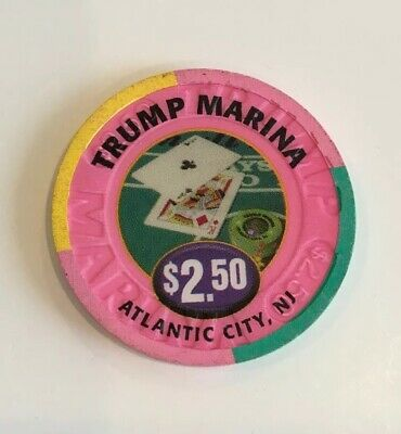 Vintage Trump Marina Casino $2.50 Chip Atlantic City NJ Ace/King Blackjack