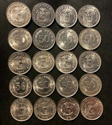 Old Ecuador Coin Lot - 1963-1977 - 20 Uncommon Coins - Lot #M24