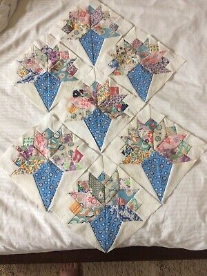 Vintage Bridal Bouquet Quilt Blocks Made With Feedsack And Vintage Fabrics
