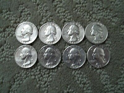 Lot of 8 Quarters 90% Silver Quarters From The 1960s