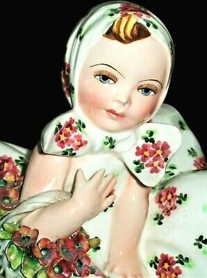 Antique Italy Art Deco Carlo Mollica Girl Doll With Flowers Porcelain Figurine