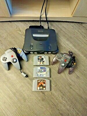 TESTED Nintendo 64 Console Bundle + Cables + 2 Controllers + 3 games