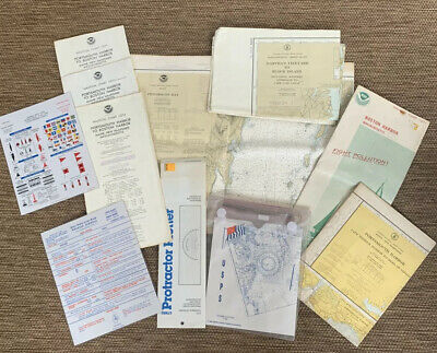 Vintage Large Lot NOAA MA ME NH  Nautical Maps Course Plotter Protractor Charts