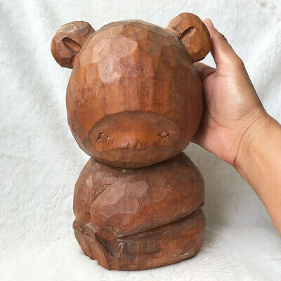 "8""/20cm Craft Wooden Hand Carving BIG Raccoon Doll Folk Art Vintage Japanese"