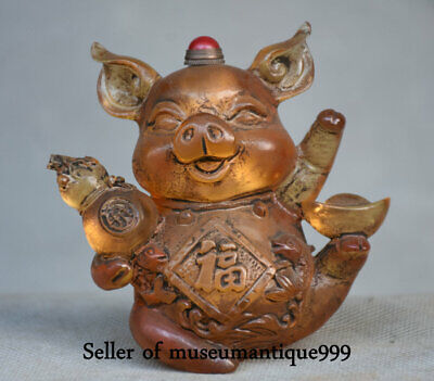 8CM Ancient China coloured glaze Dynasty Zodiac Pig Beast Snuff Bottle Box