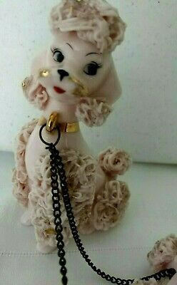 vintage poodle dog  figurines Porcelain pink Spaghetti Dogs mom chained to pups