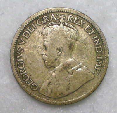 1921 Canada 10 Cents - Silver. FREE Shipping Included!