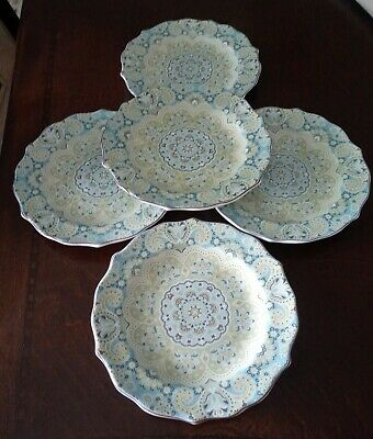222 Fifth LYRIA Teal  Fine China SaucersSet Of 5 Small Plates