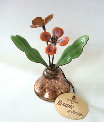 Vintage BOVANO Enamel On Copper Bell Orange Flowers Leaves w/ tag Mid Century