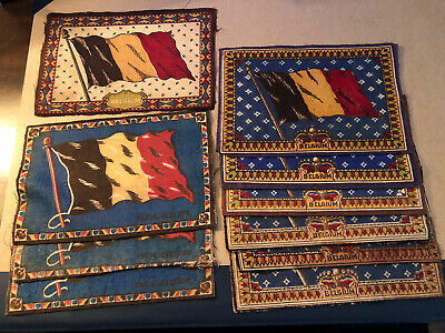 "1909-1911 Vintage Tobacco  11 Assorted Belgium  5 1/2 X .8.5"" Felt Country Flags"