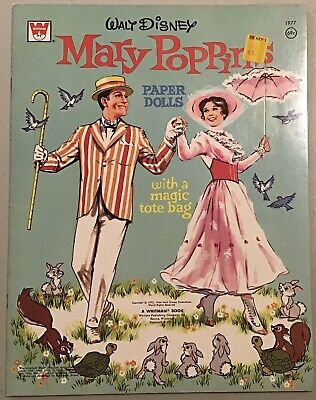 Whitman Walt Disney's Mary Poppies Paper Doll Book, With A Magic Tote Uncut 1973