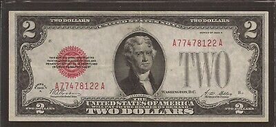 1928 A $2 United States Note (USN),Large Red Seal,Circulated Crisp VF,Nice!