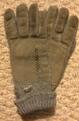 Vintage! ISOTONER ~ ARIS Leather Gray Nylon Lined Womens One-Size Driving Gloves