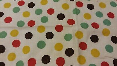 Vintage Feedsack Piece Green Brown Red Yellow Polka Dots measures 34 by 36 inch