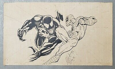 ESTATE SALE!AUTHENTIC VINTAGE 93 Aldrin BUZZ Aw MARVEL SPIDERMAN VENOM DRAWING