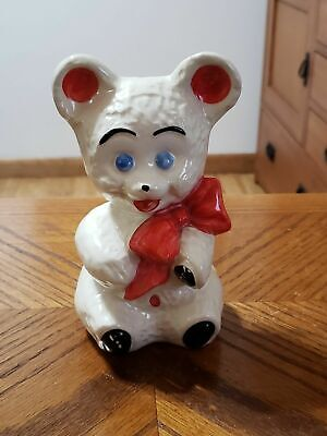 Vintage Teddy Bear Bank Ceramic Coin Bank Hand Painted White