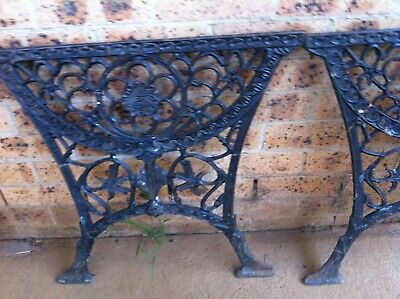 Vintage Cast Iron Table Ends (outdoor)