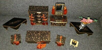 Vintage Japanese Hina Doll House Furniture Japan Dollhouse - Wood Lacquer Style