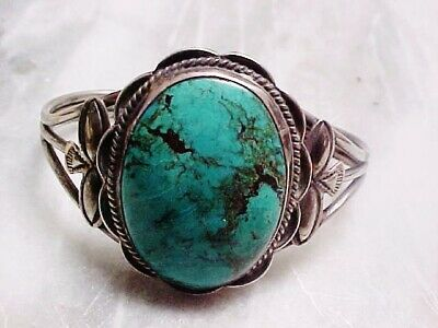 Antique Navajo Hand Wrought Coin Silver Bracelet Huge Cerrillos Nm Turquoise-Nr