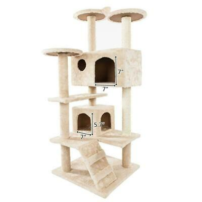"52"" Cat Tree Tower Condo Furniture Scratching Scratch Pet Kitty Play House US"