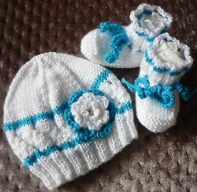 Baby Beanie & Booties Set, Lightweight & Soft. Hand-knitted by me. With Rosette.