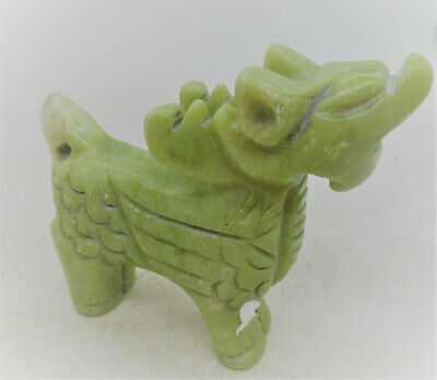 Beautiful Antique Old Chinese Tang Dynasty Jade Stone Dragon Figurine