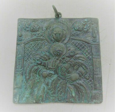 Beautiful Late Medieval Religious Bronze Icon Depicting Saint 1500-1600Ad
